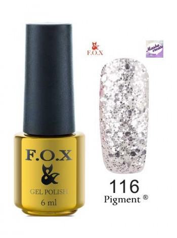116 Гель лак FOX Masha Create (серебристый блеск.) 6ml