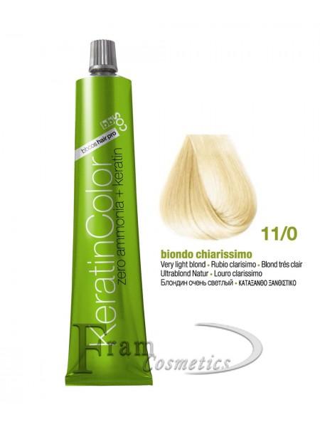 11/0 Краска для волос с кератином BBcos Keratin Color блондин очень светлый