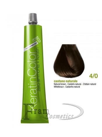 4/0 Краска для волос с кератином BBcos Keratin Color каштановый натуральный