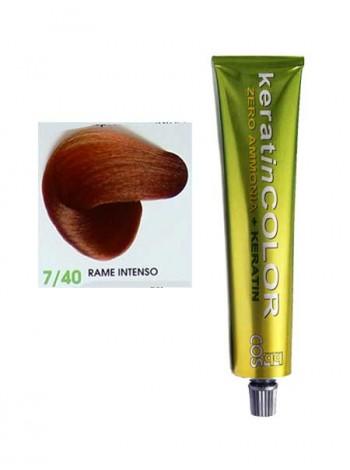 """7/40 Краска для волос """"Keratin Color"""" безаммиачная медный интенсивный"""