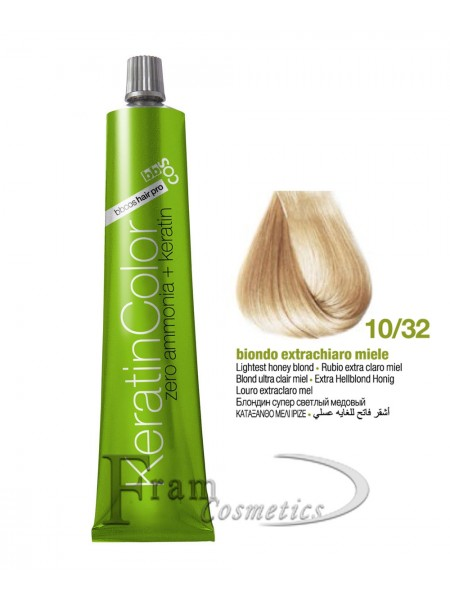 10/32 Краска для волос BBcos Keratin Color блондин экстра-светлый золотисто-фиолетовый