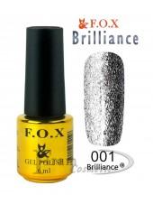 Гель лак FOX 001 Brilliance мерцающее серебро
