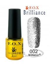 Гель лак FOX 002 Brilliance светлое серебро