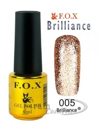 Гель лак FOX 005 Brilliance мерцающая бронза