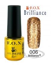 Гель лак FOX 006 Brilliance мерцающее темное золото