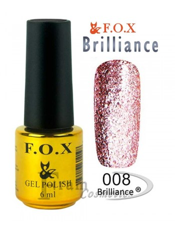 Гель лак FOX 008 Brilliance мерцающее розовый
