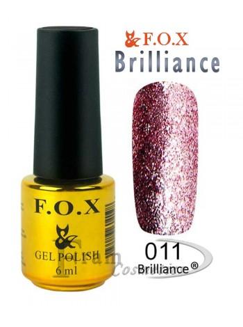 Гель лак FOX 011 Brilliance бледный красно-пурпурный