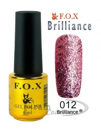 Гель лак FOX 012 Brilliance очень темный красный