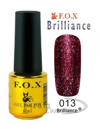 Гель лак FOX 013 Brilliance фалунский красный