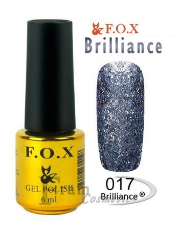 Гель лак FOX 017 Brilliance маренго с блестками