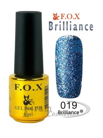 Гель лак FOX 019 Brilliance фиолетово-синий