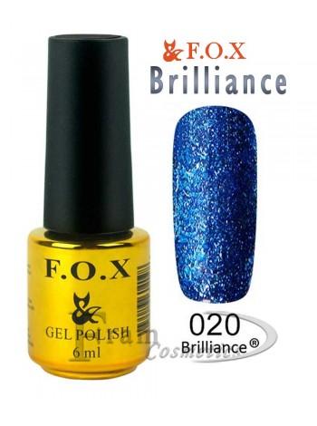 Гель лак FOX 020 Brilliance черное море
