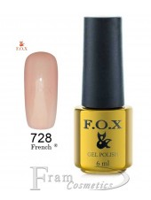 Гель лак FOX 728 French (розово-коричневый)