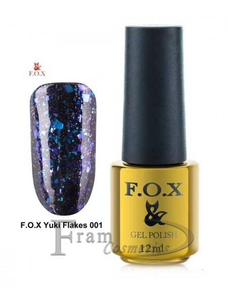Гель лак FOX 001 Yuki Flakes черно-серый