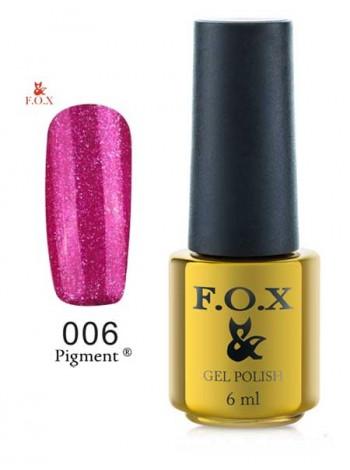 Гель лак FOX 006 gold Pigment темно-малиновый