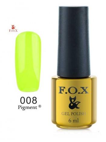 Гель лак FOX 008 gold Pigment кислотно желтый