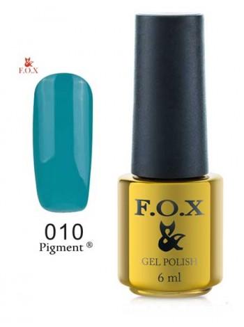 Гель лак FOX 010 gold Pigment зеленый