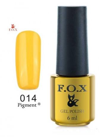 Гель лак FOX 014 gold Pigment ярко желтый