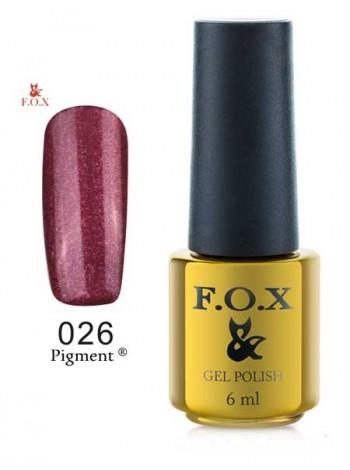 Гель лак FOX 026 gold Pigment бордовый