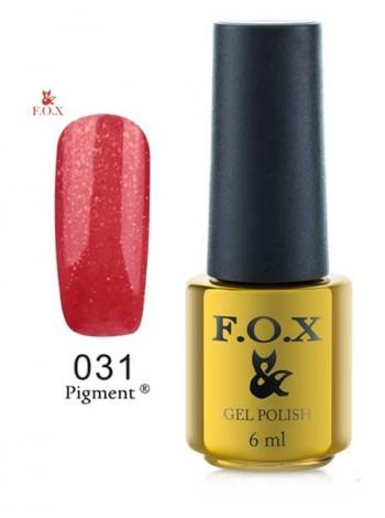 Гель лак FOX 031 gold Pigment красный микроблеск