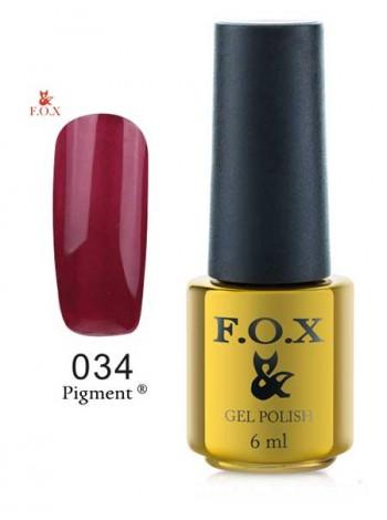 Гель лак FOX 034 gold Pigment марсал с перламутром