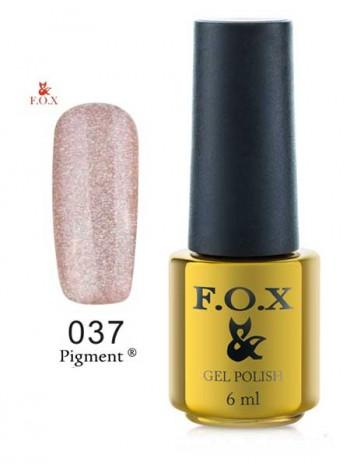 Гель лак FOX 037 gold Pigment глиттер мультик