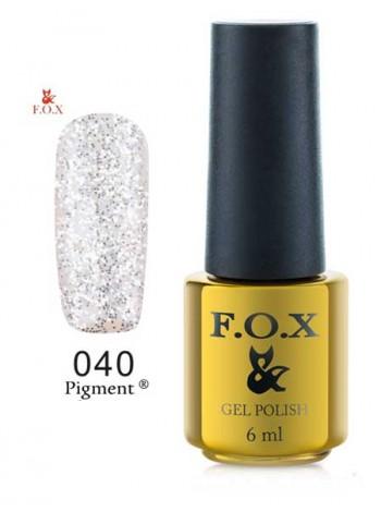 Гель лак FOX 040 gold Pigment серебряный глиттер