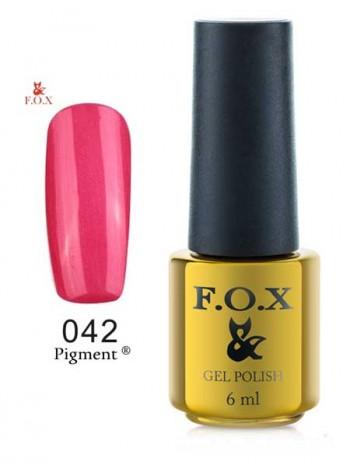 Гель лак FOX 042 Pigment малиновый с микро блеском