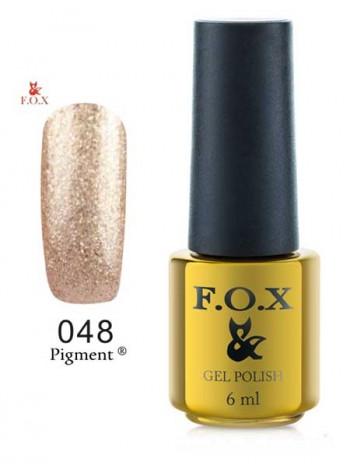Гель лак FOX 048 Pigment плотный золотой глиттер