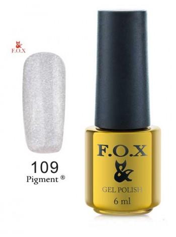 Гель лак FOX 109 серебристый глиттер
