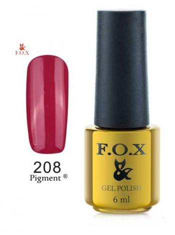 Гель лак FOX 208 Gold Pigment рубиново-красный