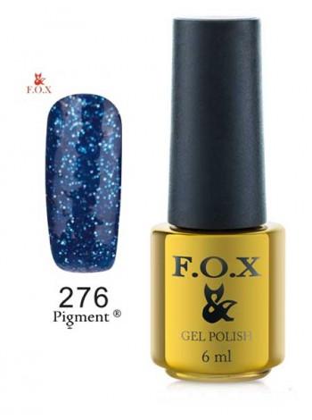 Гель лак FOX 276 синий с вкраплением голубой слюды