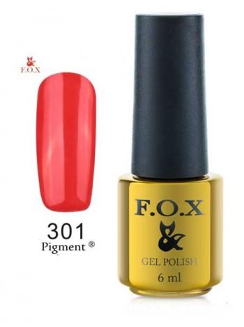 Гель лак FOX 301 gold Pigment плотный коралловый