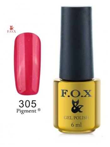 Гель лак FOX 305 яркий пурпурно-красный