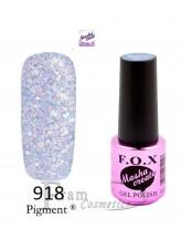 Гель лак FOX Masha Create 918 фиолетовый с глиттером