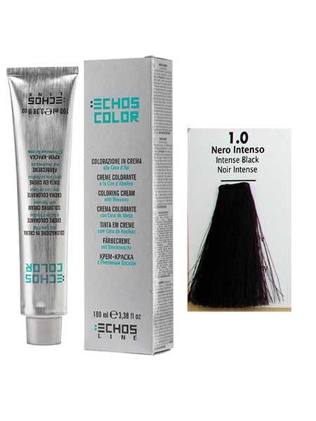 """1/0 Краска для волос Echos Color """"интенсивный черный"""""""