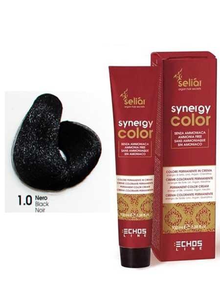 """1/0 Крем-краска для волос Echosline SYNERGY """"черный"""""""