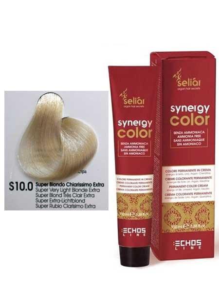 """10/0S Крем-краска для волос Echosline SYNERGY """"супер светлый блондин"""""""