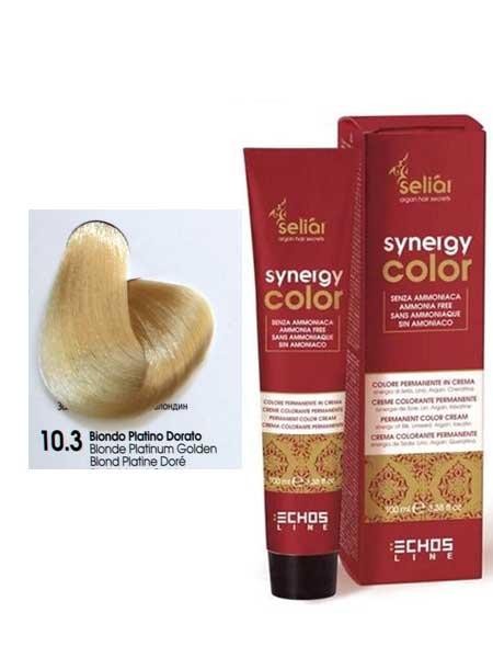 """10/3 Крем-краска для волос Echosline SYNERGY """"золотистый платиновый блондин"""""""