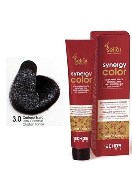 """3/0 Крем-краска для волос Echosline SYNERGY """"темно-каштановый"""""""