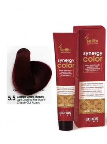 Крем-краска Echosline Synergy Color без аммиака 5/5 светло-каштановый махагон