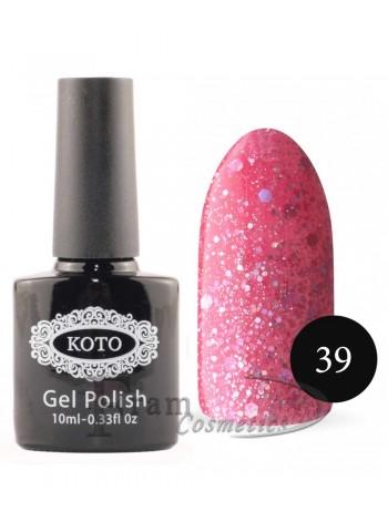 Гель лак для ногтей Кото 039 темно розовый с крапинками